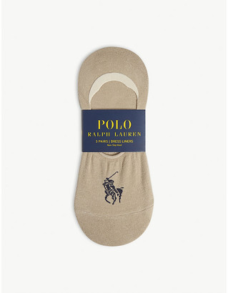 Polo Ralph Lauren Stretch-cotton shoe liner socks pack of three