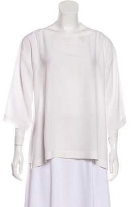 eskandar Silk Long Sleeve Top White Silk Long Sleeve Top
