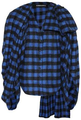 Y/Project Wool-blend checked flannel top