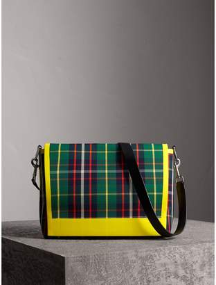 Burberry Large Tartan Cotton Messenger Bag