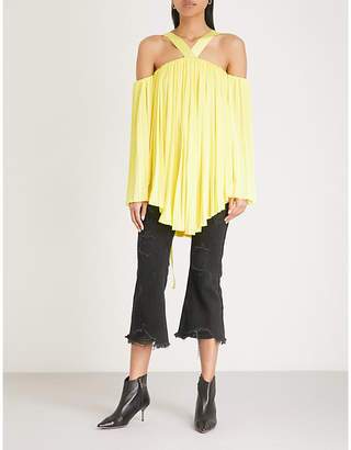 Mo&Co. Cold-shoulder asymmetric pleated satin top