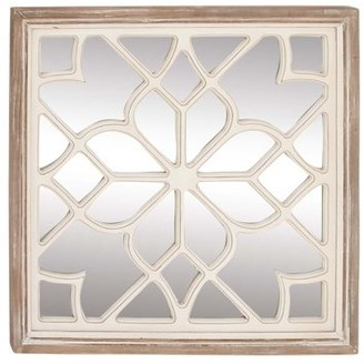 DecMode Decmode Modern 30 X 30 Inch Wooden Lattice Mirrored Decor, White