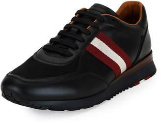 Bally Men's Leather Trainer Sneakers w/Trainspotting Stripe Black