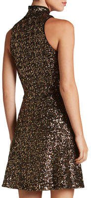 Dress the Population Stevie High-Neck Sequin Fit & Flare Dress