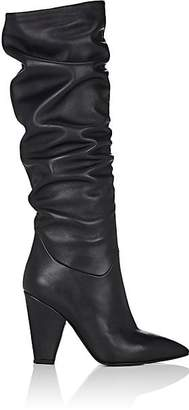 Barneys New York Women's Leather Slouchy Knee Boots - Black