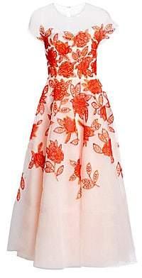 Ahluwalia Women's Embroidered Tulle Tea Dress