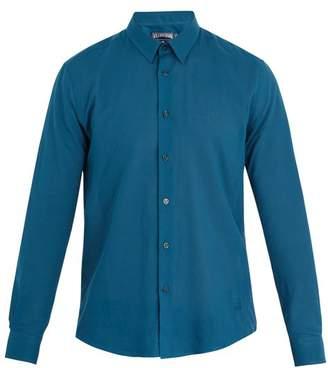 Vilebrequin Caracal Point Collar Cotton Voile Shirt - Mens - Blue