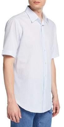 Brioni Men's Pinstriped Seersucker Short-Sleeve Sport Shirt