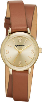 ARIZONA Arizona Womens Gold Tone Double Wrap Brown Strap Watch $36 thestylecure.com
