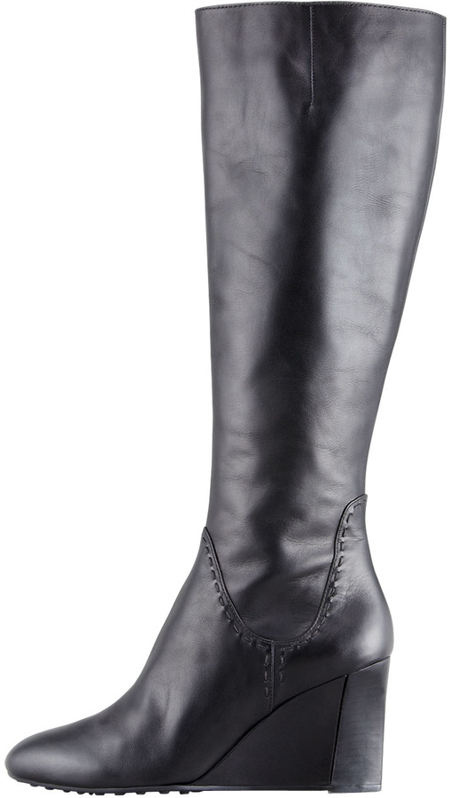 Tod's Zeppa Tall Wedge Boot, Black