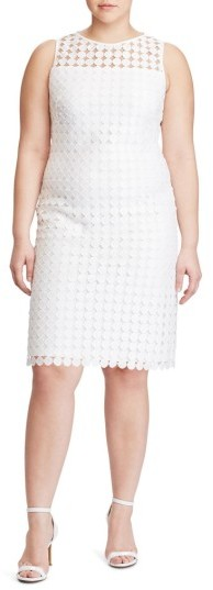 Lauren Ralph LaurenPlus Size Women's Lauren Ralph Lauren Dot Lace Sheath Dress