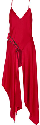 DKNY - Asymmetric Lace-up Satin-crepe Top - Red $830 thestylecure.com