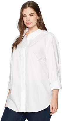 NYDJ Women's Plus-Size Cotton Poplin Wide Placket Blouse