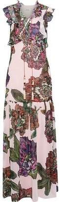Badgley Mischka Lace-Up Floral-Print Crepe De Chine Maxi Dress