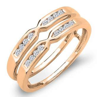 DazzlingRock Collection 0.25 Carat (ctw) 18k Rose Gold Round Diamond Ladies Anniversary Guard Double Band 1/4 CT (Size 9)