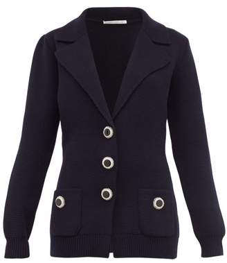Alessandra Rich Crystal Button Wool Cardigan - Womens - Navy