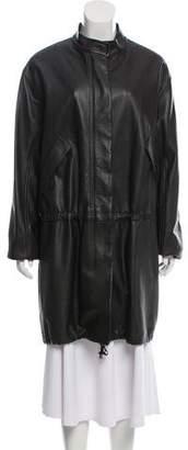 Helmut Lang Knee-Length Leather Coat