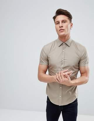 HUGO Short Sleeve Poplin Shirt In Khaki