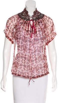 Rozae Nichols Lace-Accented Silk Blouse w/ Tags