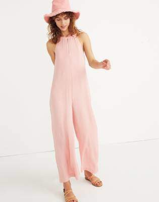 Madewell Keyhole Wide-Leg Jumpsuit in Pink Icing