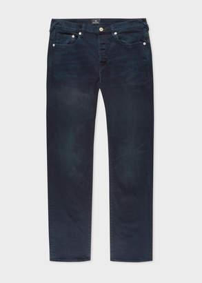 Paul Smith Men's Standard-Fit 'Crosshatch Stretch' Navy Over-Dye Jeans