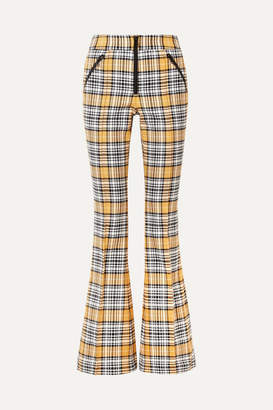 Veronica Beard Fraser Checked Cotton-blend Flared Pants - Yellow