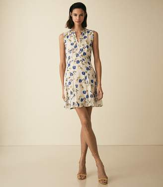 Reiss MIKA FLORAL PRINTED DAY DRESS Blue/white