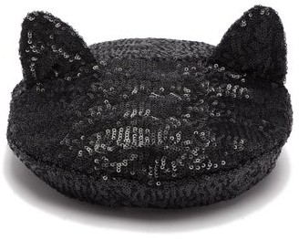 Maison Michel Billy Cat Ears Sequinned Beret - Womens - Grey