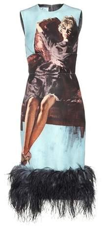 Prada Sleeveless fur-trimmed dress