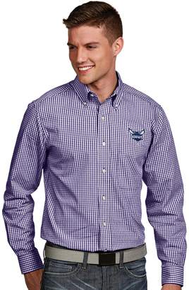 Antigua Men's Charlotte Hornets Associate Plaid Button-Down Shirt