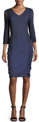 XCVI Arya Stretch Poplin Ruched Lace Dress