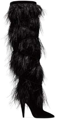 Saint Laurent black Yeti 110 ostrich feather over-the-knee boots