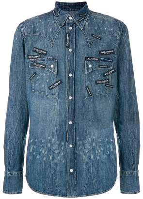 Dolce & Gabbana logo patch denim shirt