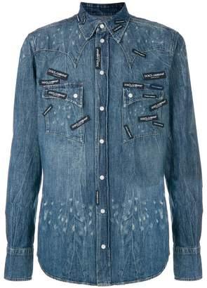 Dolce & Gabbana logo patch denim shirt