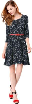 Allegra K Women's Bird Prints Contrast Belt Above Knee A Line Dress L