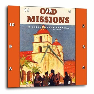 3dRose Old Missions, Mission Santa Barbara California Luggage Label, Wall Clock, 13 by 13-inch