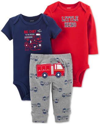 Carter's Baby Boys 3-Pc. Cotton Firetruck Bodysuits & Pants Set