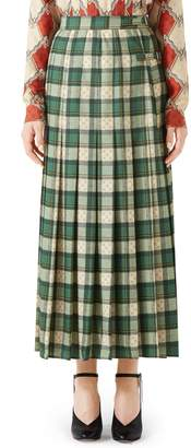 Gucci Tartan Check Wool Twill Maxi Skirt