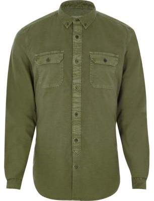 River Island Khaki green double pocket slim fit shirt