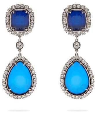 Balenciaga Crystal Drop Earrings - Womens - Blue