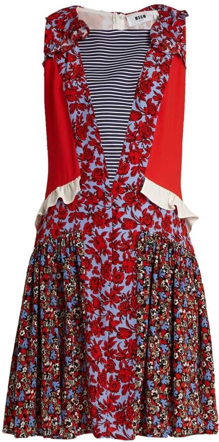 MSGM Contrast-print ruffle-trimmed silk dress