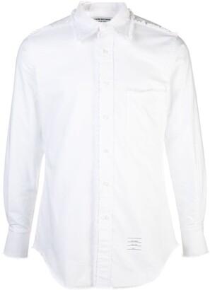 Thom Browne long-sleeve frayed shirt