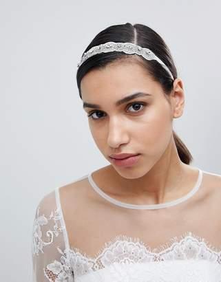 Asos Design DESIGN Bridal Beaded Crystal Headband