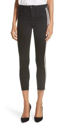 L'Agence Margot Embellished Side Stripe Crop Skinny Jeans
