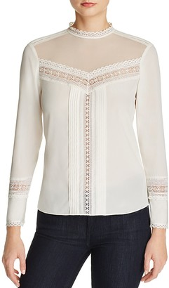 Rebecca Taylor Sheer Yoke Silk Blouse $350 thestylecure.com