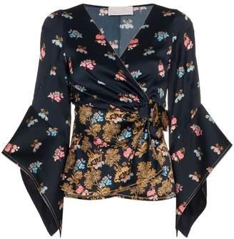 Peter Pilotto V-neck floral print silk wrap blouse