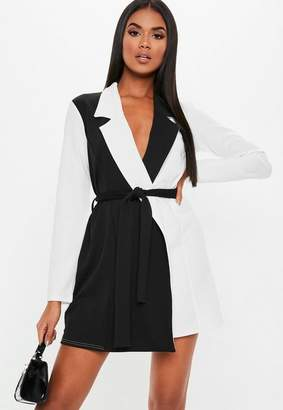Missguided Long Sleeve Monochrome Fitted Jersey Belted Wrap Dress, White
