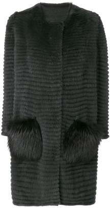 Liska fur contrast pocket coat