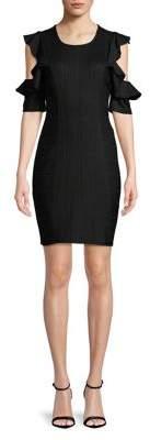 BCBGeneration Short-Sleeve Cold-Shoulder Ruffle Dress