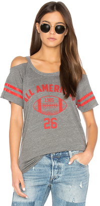 Chaser Striped Sleeve Cold Shoulder Tee $62 thestylecure.com